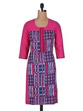 Pink Printed Embroidered Cotton Long Kurti - Vasudha