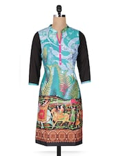 Multicolour Printed Cotton Kurti With Quarter Sleeves - By