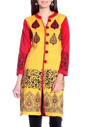 yellow embroidered woolen kurta