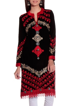 black embroidered woolen kurta