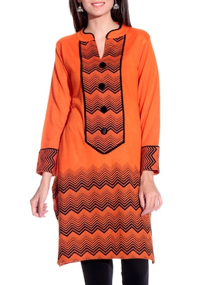 orange printed woolen kurta