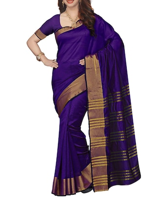 blue art silk bordered saree