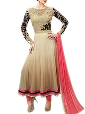 beige georgette anarkali semistitched suit -  online shopping for Semi-Stitched Suits