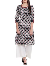Black Printed Cotton Straight Kurta - By