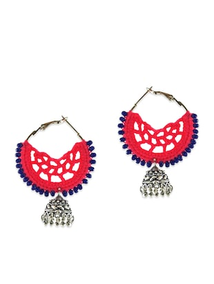 Pink and silver crochet jhumkas