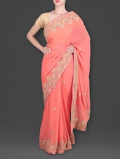 Peach Saree With Embroidered Peacock Border - Roop Saree