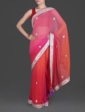 Gota Patti Embellished Pink And Orange Georgette Saree - By