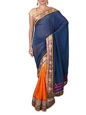 Blue Embroidered Moss Georgette Saree - Kabira Fashion