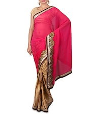 Pink Embroidered Georgette Saree - By