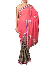 Pink Embroidered Printed Georgette Saree - By