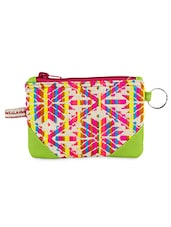 Woven Geometric Flower Pattern Coin Pouch - The Kala Shop
