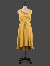 Embroidered Mustard Hi-Lo Sleeveless Dress - Shivani&Joy