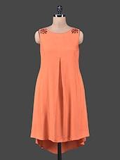 Orange Embroidered Sleeveless Hi-Lo Dress - Shivani&Joy