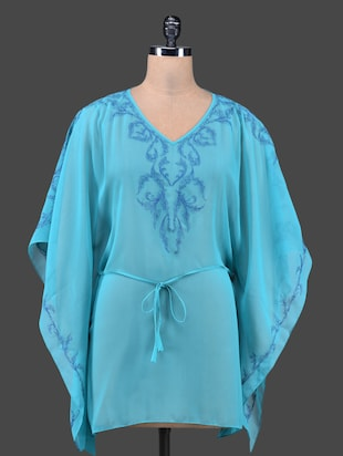 Sky Blue Embroidered Kaftan Top