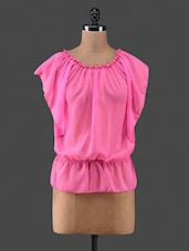 Pink Plain Georgette Full Sleeve Top - C M Clothing