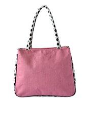 Pink Polka Printed Jute Handbag - By