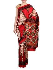 Beige Printed Art Silk Saree - By