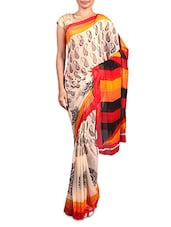 Red Printed Chiffon Saree - By