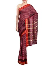 Purple Striped Printed Cotton Silk Saree - By