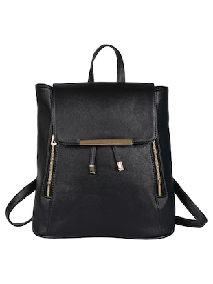 black leatherette backpack