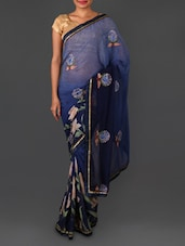 Floral Embroidery Printed Art Silk Saree - By