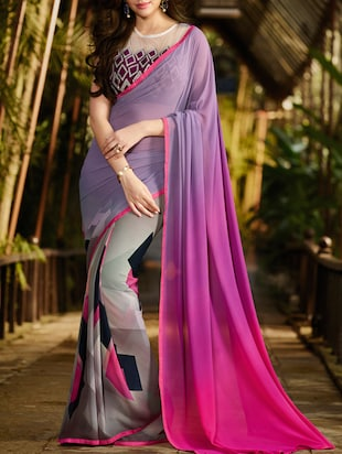 multicoloured georgette printed half and half saree