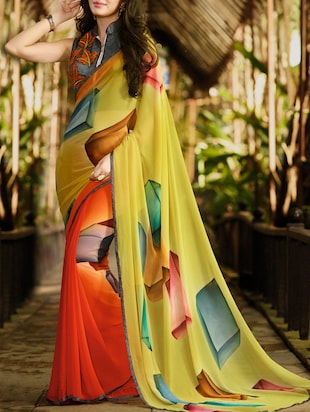 yellow and orange georgette printed half and half  saree