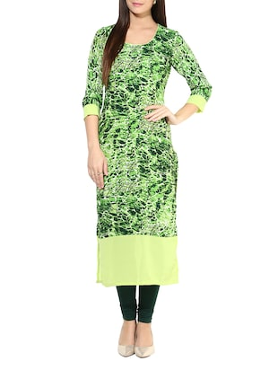 Green abstract print crepe kurta