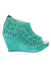 Green Cut Worked Suede Wedges - TEN