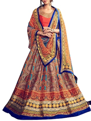 multi colored Banglori Silk lehenga