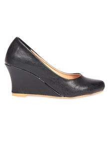 Black leather wedges