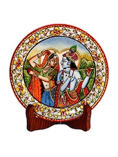 Multicolored Marble Hand Painted Radha Krishna Plate - By
