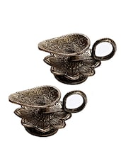 Silver Metallic Floral Shape Diya With Antique Finish - By