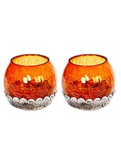 Combo Of Two Amber Glass And Metallic Tea Light Holder - By