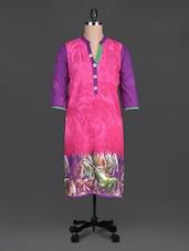 Pink Beads Printed Cotton Band Collar Kurta - SHREE