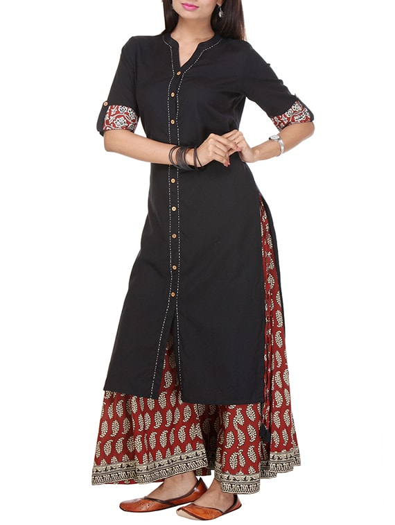Varanga Black Cotton Kurta With Palazzo - By