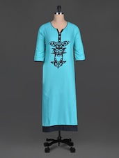 Blue Printed Cotton Round Neck Kurta - By