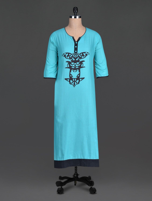 Blue Printed Cotton Round Neck Kurta - By