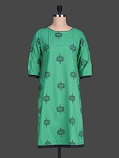 Round Neck Sleeveless Polka Pattern Print On Print Green Kurta - 9rasa
