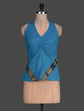 V Neck Solid Color Sleeveless Blue Top - 9rasa
