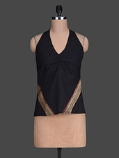 V Neck Solid Color Sleeveless Black Top - 9rasa