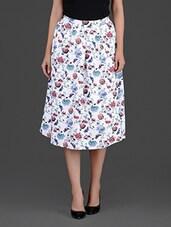 Floral Printed White A-Line Midi Skirt - Femella