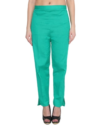 green cotton tapered pants
