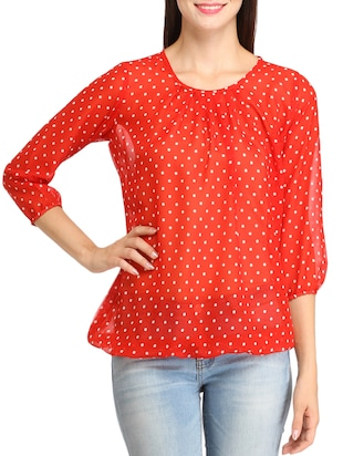 red poly georgette regular top