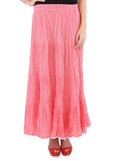 Peach Cotton Polka Dots Long Skirt - By