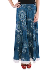 Blue Cotton Printed Long Skirt - By