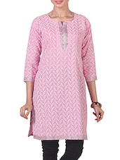 Embroidered Lurex Work Neck Long Kurta - Morpunc