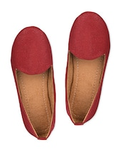 Red Faux Leather Ballerinas - A&N