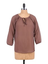 Solid Color Long Sleeve Top - Sepia - 1183185