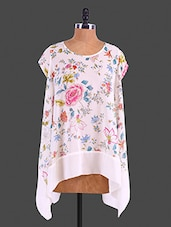 White Floral Printed Polyester Poncho Top - Lemon Chillo
